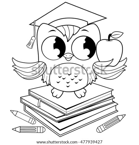 owl on books with graduation...