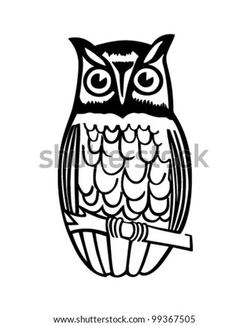 Owl On Branch Retro Clipart Illustration