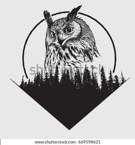 owl on forest silhouette