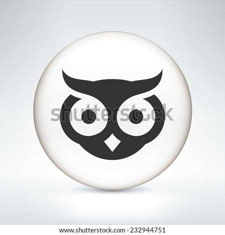 owl on white round button