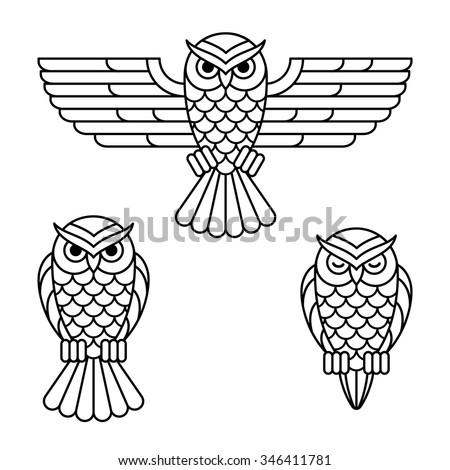 owl outline emblem set in