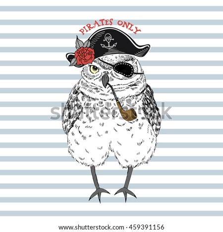 owl pirate  nautical poster