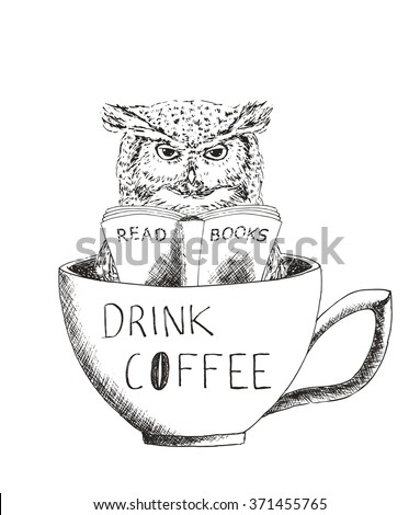 owl reading a book in a cup of