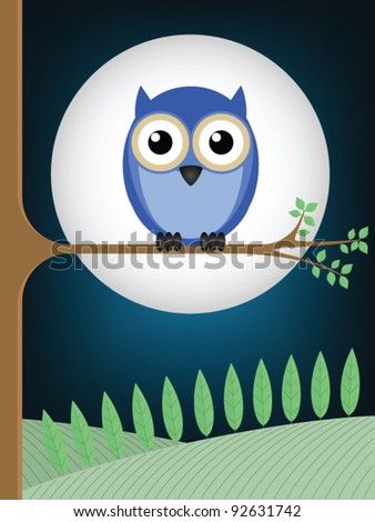 Owl sat on a tree branch against a full moon