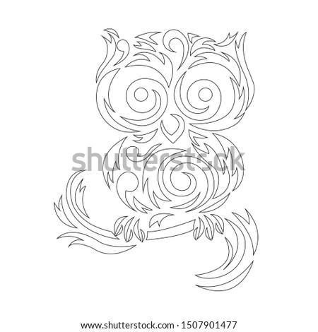 Owl silhouette outline, coloring outlined in black, painted in zigzag lines. Owl bird logo. Vector illustration