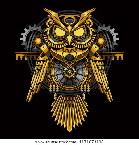 owl steampunk illustration and tshirt design