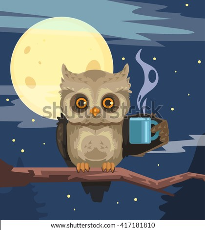 owl with cup of coffee vector