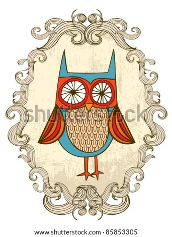 owl with frame illustration/vector