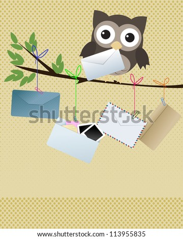 "Owl ""you got mail""/Little brown owl on branch with various kind of envelopes hanging of the branch"