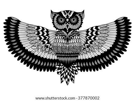 owl zentangle for t shirt design