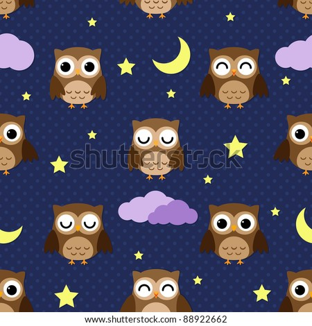Owls at night with stars, clouds and moon. Seamless pattern.