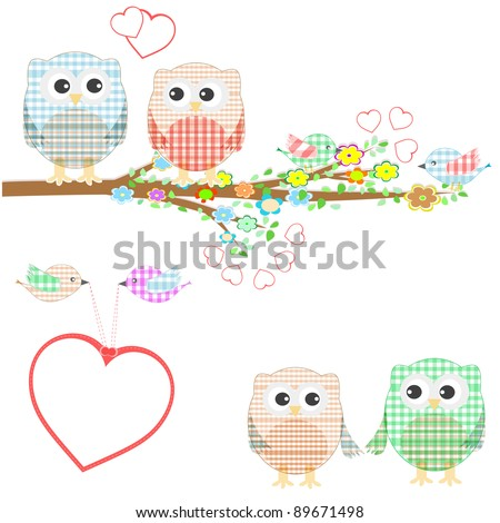 owls birds and love heart tree branch. vector