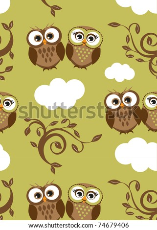 Owls couple on the clouds. Seamless pattern