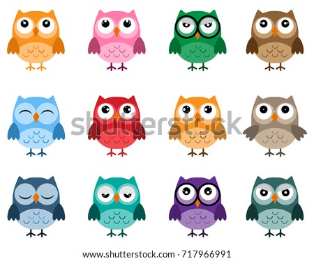 owls icons  bright owls with
