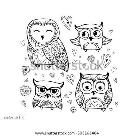 Cute Boho Birds Set Collection Vector Black White