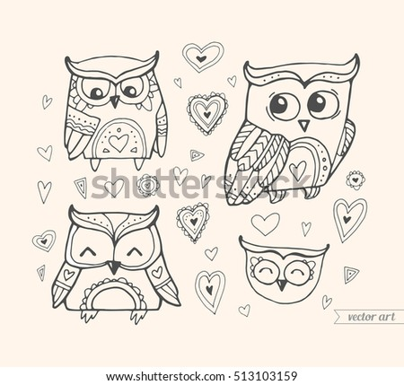 Cute Boho Birds Set Collection Vector Coloring Book Page For
