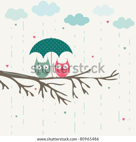 Owls  under umbrella, romantic card