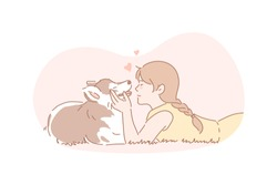 Owner, dog, pet, care concept. Young girl cares about her dog. Happy child is hugging domestic pet. True friendship between human and animal. Owner and pet is devoted to each other. Simple flat vector