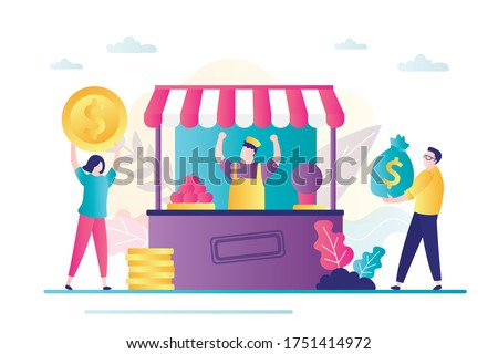 Owner grocery rejoices profit. Small business with commerce profit and earnings from product sell. Male character carries bag of money. Customers buying meal at food tent. Flat vector illustration Foto stock ©