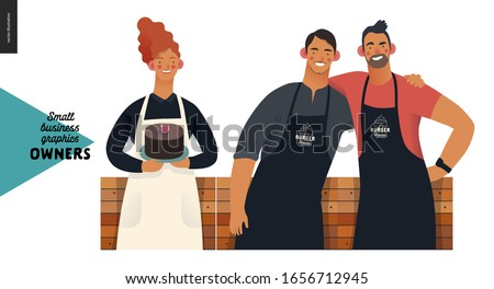 Owners -small business owners graphics. Modern flat vector concept illustrations - young red-haireded woman wearing white apron, with a cake, two young men standing embraced at the wooden counter