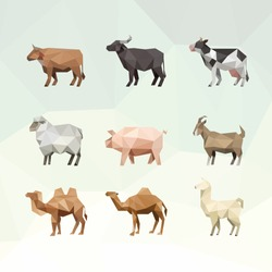OX BUFFALO COW SHEEP PIG GOAT CAMEL LLAMA FARM ANIMAL LOW POLY LOGO ICON SYMBOL SET. TRIANGLE GEOMETRIC POLYGON