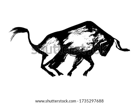 Ox, bull, cow on white background. Chinese happy new year 2021. Year of the white, metallic bull. Lunar New Year. Drawing bull, ox, cowhide ink
