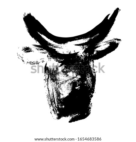 Ox, bull, cow on white background. Lunar horoscope sign ox, bull, cow. Chinese Happy new year 2021. Year of the ox. Lunar new year. Drawing ox, bull, cow ink