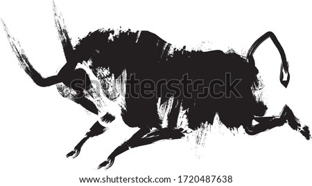 Ox, bull, on white background. Lunar horoscope sign ox, bull. Chinese Happy new year 2021. Year of the ox. Lunar new year. Drawing of ox is sketch silhouette style.