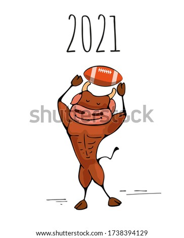 Ox,bull symbol of the 2021 new year, ox, bull rugby fun cartoon vector illustration for a postcard or calendar.
