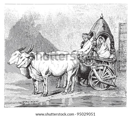 ox cart  india    vintage...