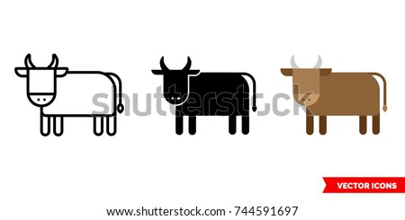Ox icon of 3 types: color, black and white, outline. Isolated vector sign symbol.