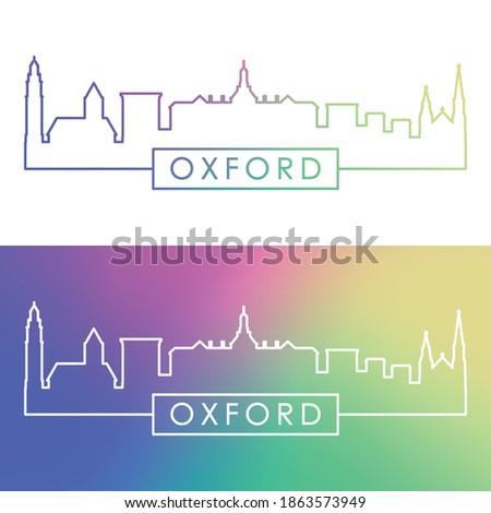 Oxford, Ohio skyline. Colorful linear style. Editable vector file.