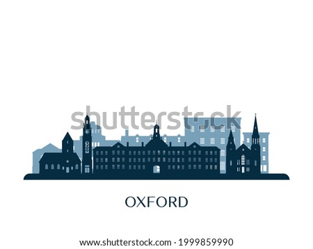 Oxford, Ohio skyline, monochrome silhouette. Vector illustration.