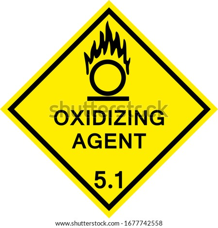 Oxidizing agent caution sign. Dangerous goods placards class 5.1. Black on yellow background. Сток-фото ©