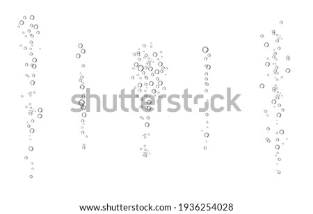 Oxygen air bubbles  flow  in water on white  background. Fizzy sparkles in sea, aquarium. Soda pop. Champagne. Effervescent tablet. Undersea vector texture.