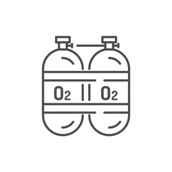 Oxygen cylinders color line icon. Sign for web page, mobile app, button, logo. Editable stroke.