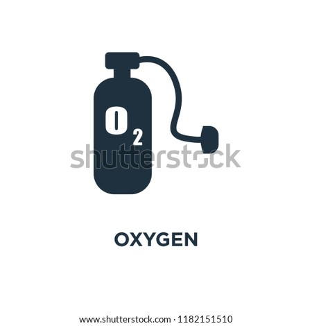Oxygen icon. Black filled vector illustration. Oxygen symbol on white background. Can be used in web and mobile.