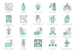 Oxygen line icons. Vector illustration included icon - anesthesia mask, ventilator, icu, artificial lung ventilation, nebulizer outline pictogram for hospital. Green Color Editable Stroke.