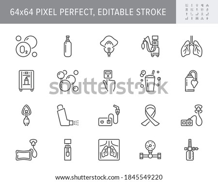 Oxygen line icons. Vector illustration included icon - anesthesia mask, ventilator, icu, artificial lung ventilation, nebulizer outline pictogram for hospital. 64x64 Pixel Perfect Editable Stroke. Foto stock ©