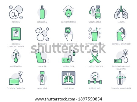 Oxygen line icons. Vector illustration included icon - anesthesia mask, ventilator, icu, artificial lung ventilation, nebulizer outline pictogram for hospital. Green Color Editable Stroke. Foto stock ©
