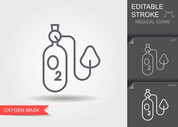 Oxygen mask. Linear medical symbols with editable stroke with shadow