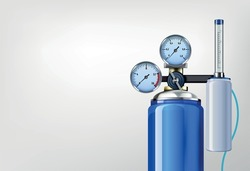 Oxygen tank and mask realistic composition with image of air tank with gauge valve and thermometer vector illustration
