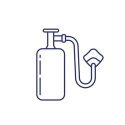 oxygen tank with mask, line icon