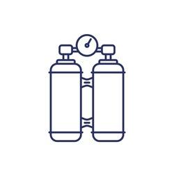 oxygen tanks line icon on white