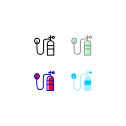 oxygen tube icon set. flat, simple, outline, color. healthcare and medical icon.
