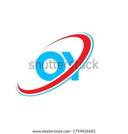 OY O Y letter logo design. Initial letter OY linked circle uppercase monogram logo red and blue. OY logo, O Y design. oy, o y Stok fotoğraf ©