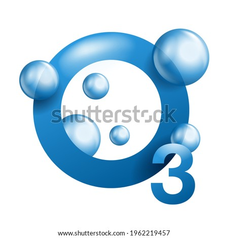 Ozone 3D icon - greenhouse gas with O3 chemical formula, ozone sign vector graphics. Isolated vector pictogram Photo stock ©