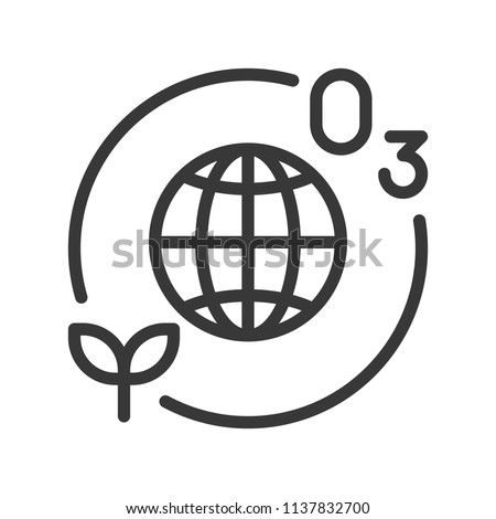 Ozone layer and plant with Globe or planet earth icon