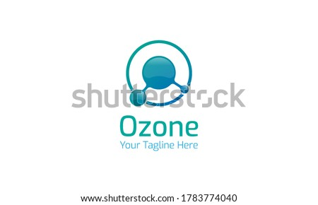Ozone logo that combines the ozone symbol and the letter O with a color gradation between blue and tosca. Photo stock ©
