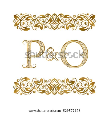 p and o vintage initials logo